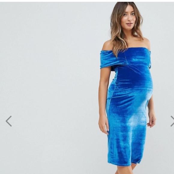 100% Authentic Cheap Price Explore Sale Online Deep Off The Shoulder Bardot Midi Bodycon Dress in Velvet - Blue Asos Maternity Clearance Shop For xWxgiPSz